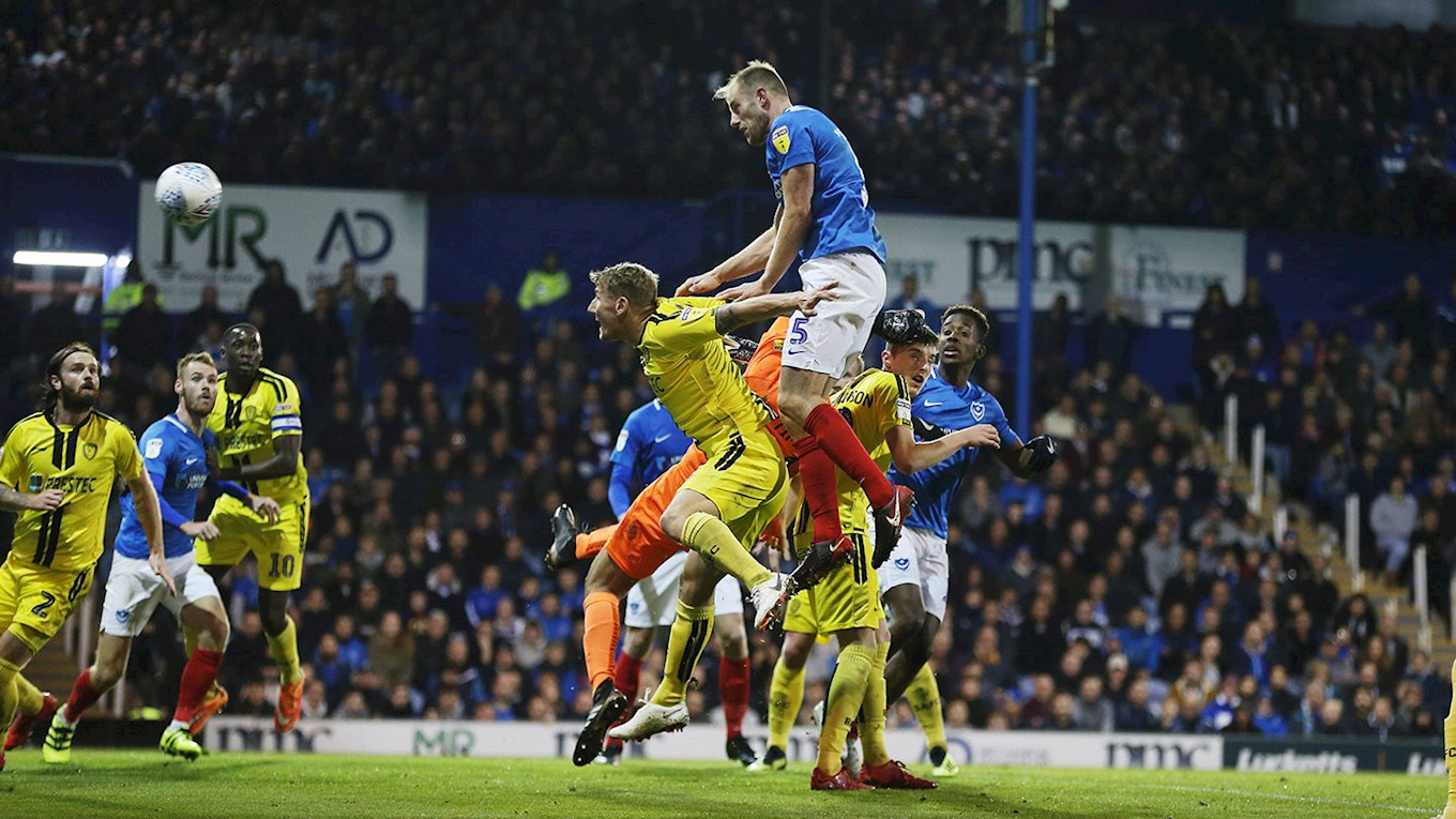 Matt Clarke scores for Pompey against Burton Albion at Fratton Park