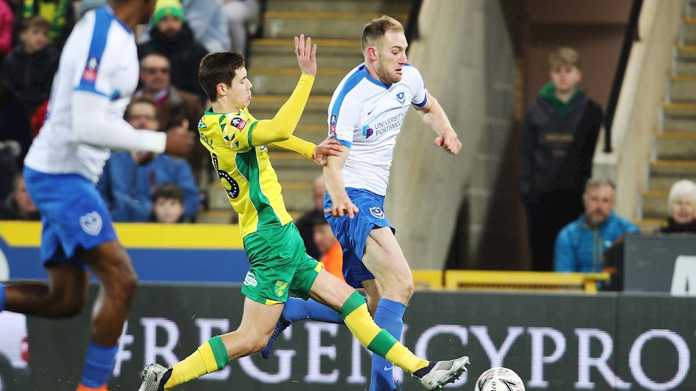 Matt Clarke in action for Pompey at Norwich