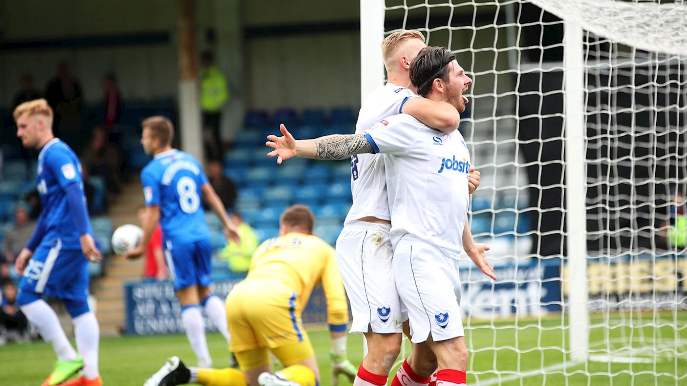 Matty Kennedy celebrates scoring for Pompey at Gillingham
