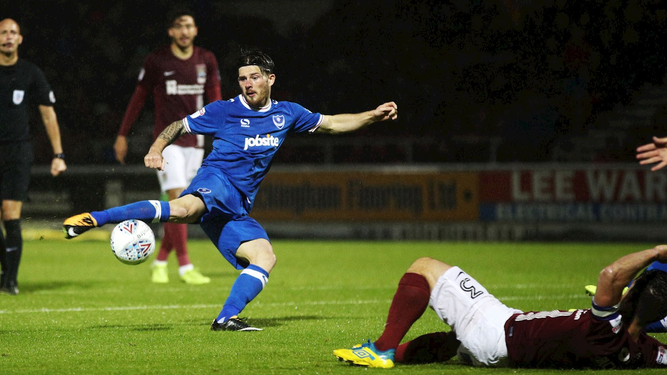 Pompey winger Matty Kennedy scores at Northampton Town