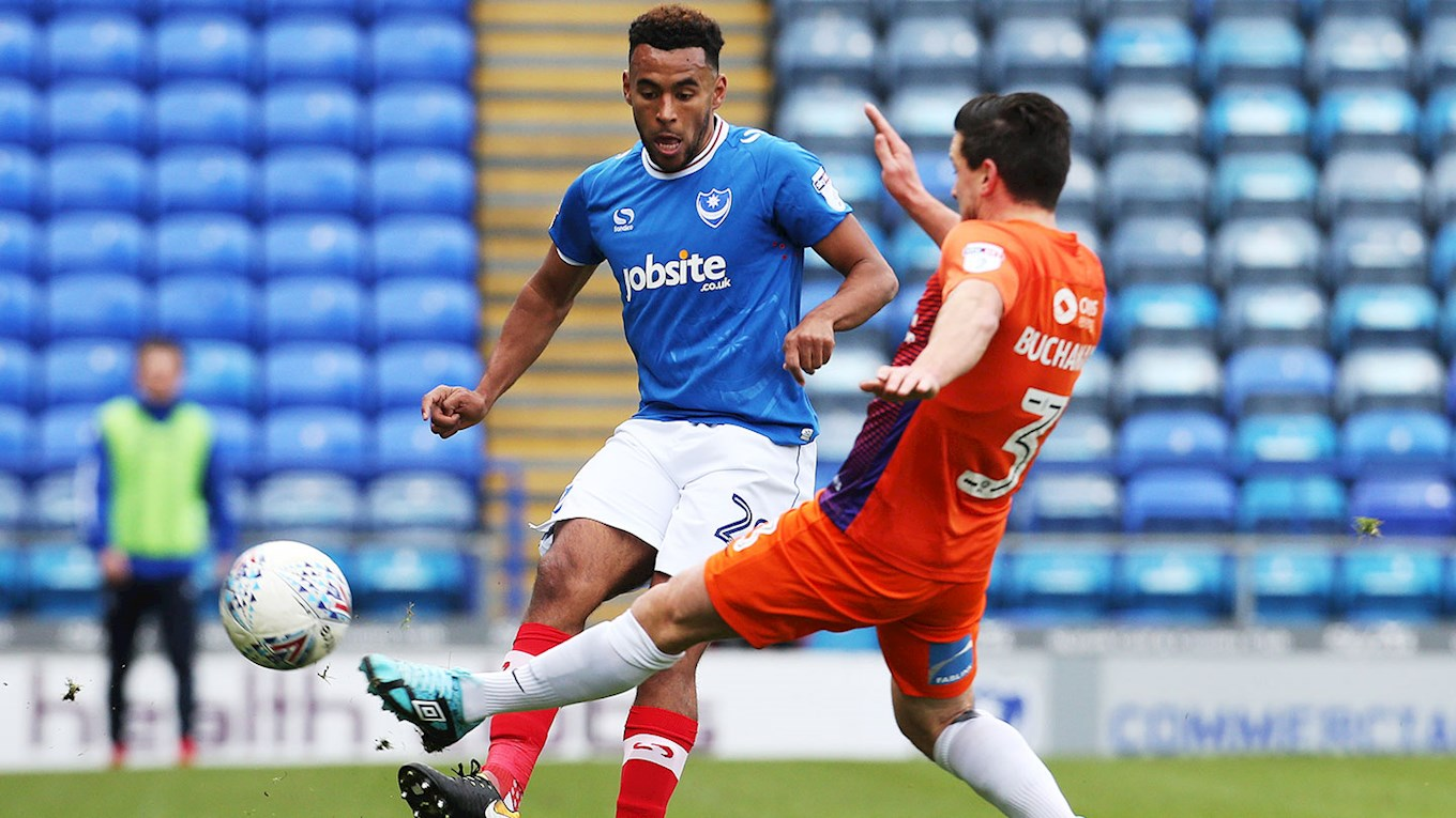 Nathan Thompson in Checkatrade Trophy action for Pompey against Northampton Town at Fratton Park
