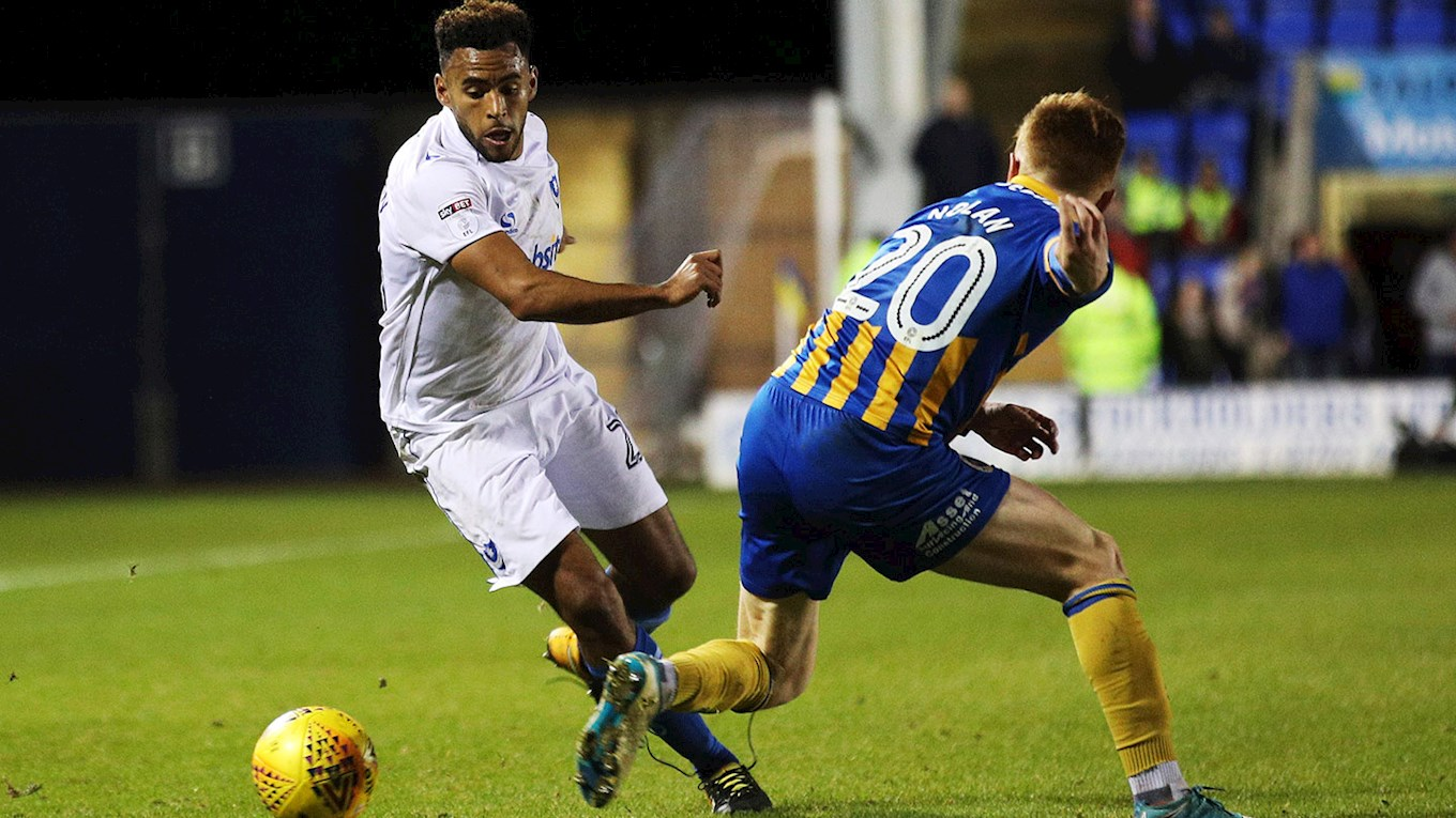 Pompey defender Nathan Thompson in action at Shrewsbury Town