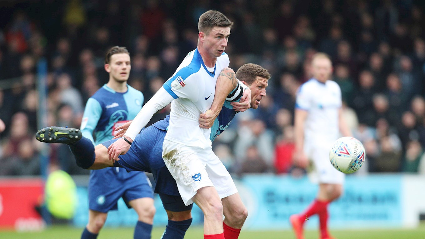 Oli Hawkins in action for Pompey at Wycombe