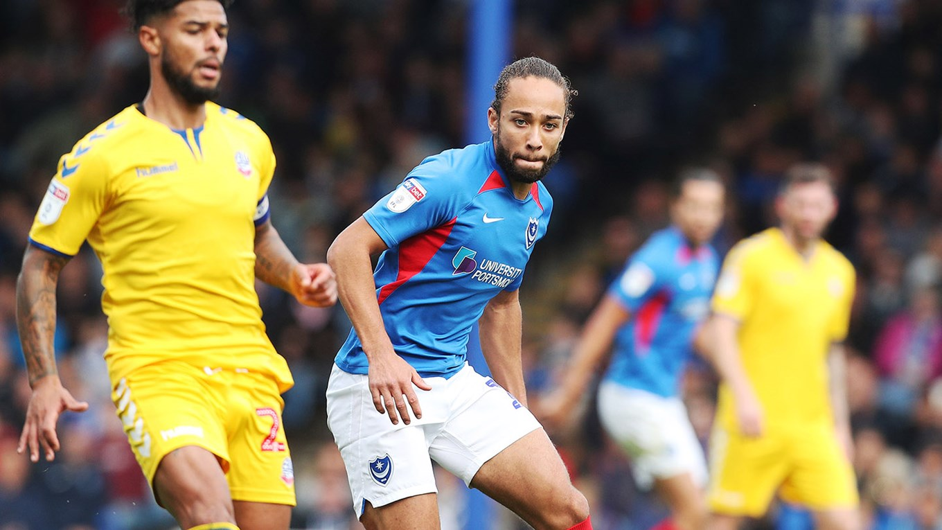 Marcus Harness in action for Pompey against Bolto