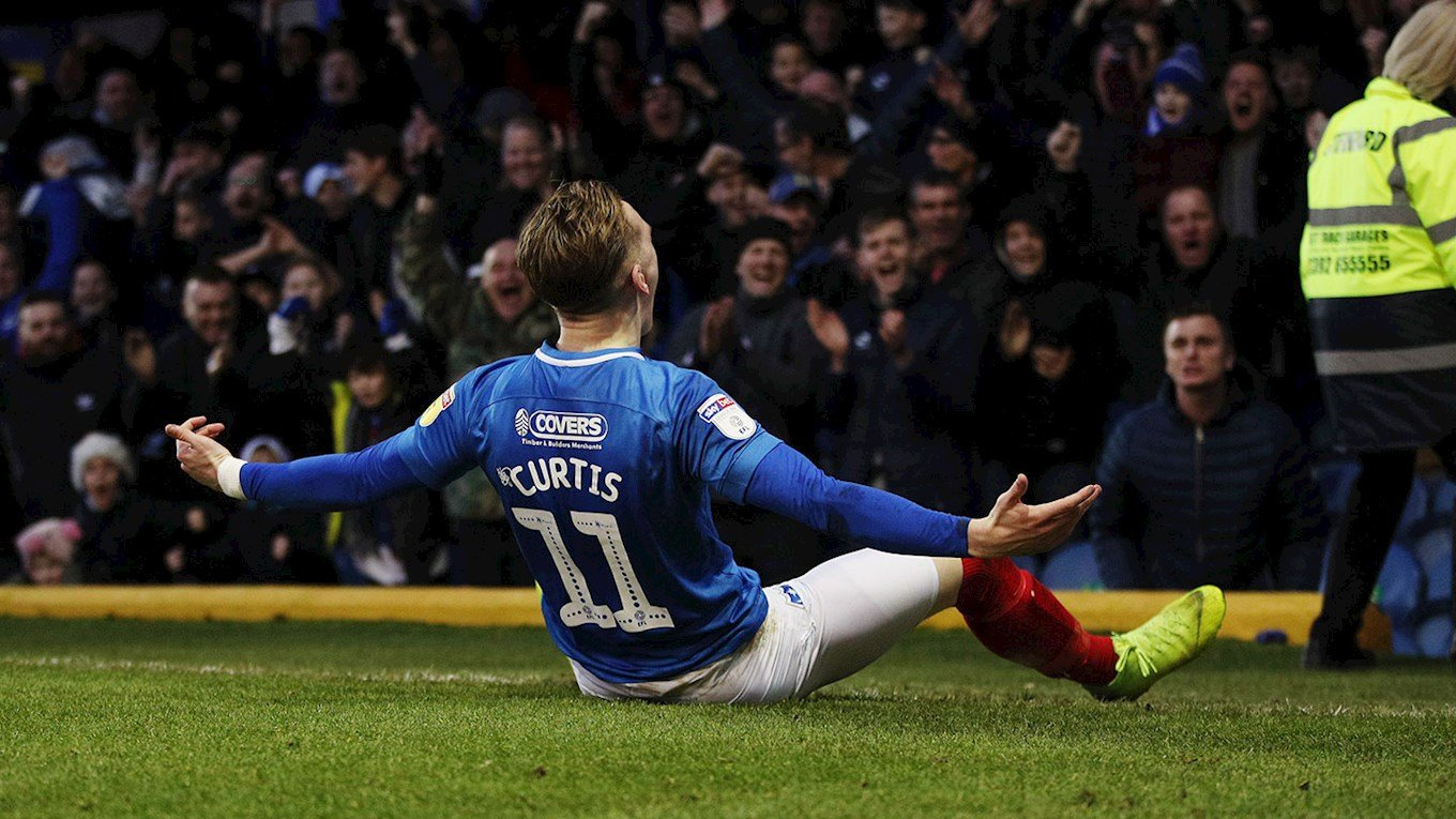 Ronan Curtis celebrates scoring for Pompey against Sunderland