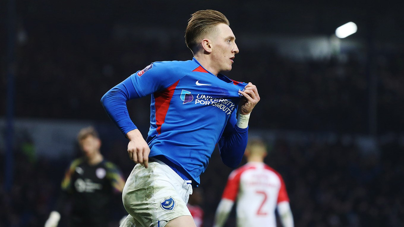 Ronan Curtis celebrates scoring for Pompey against Barnsley in the Emirates FA Cup