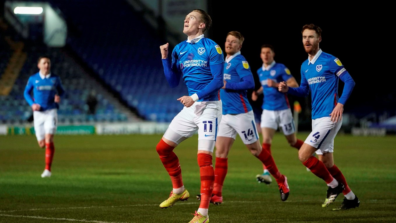 Ronan Curtis celebrates scoring for Pompey against Swindon Town at Fratton Park