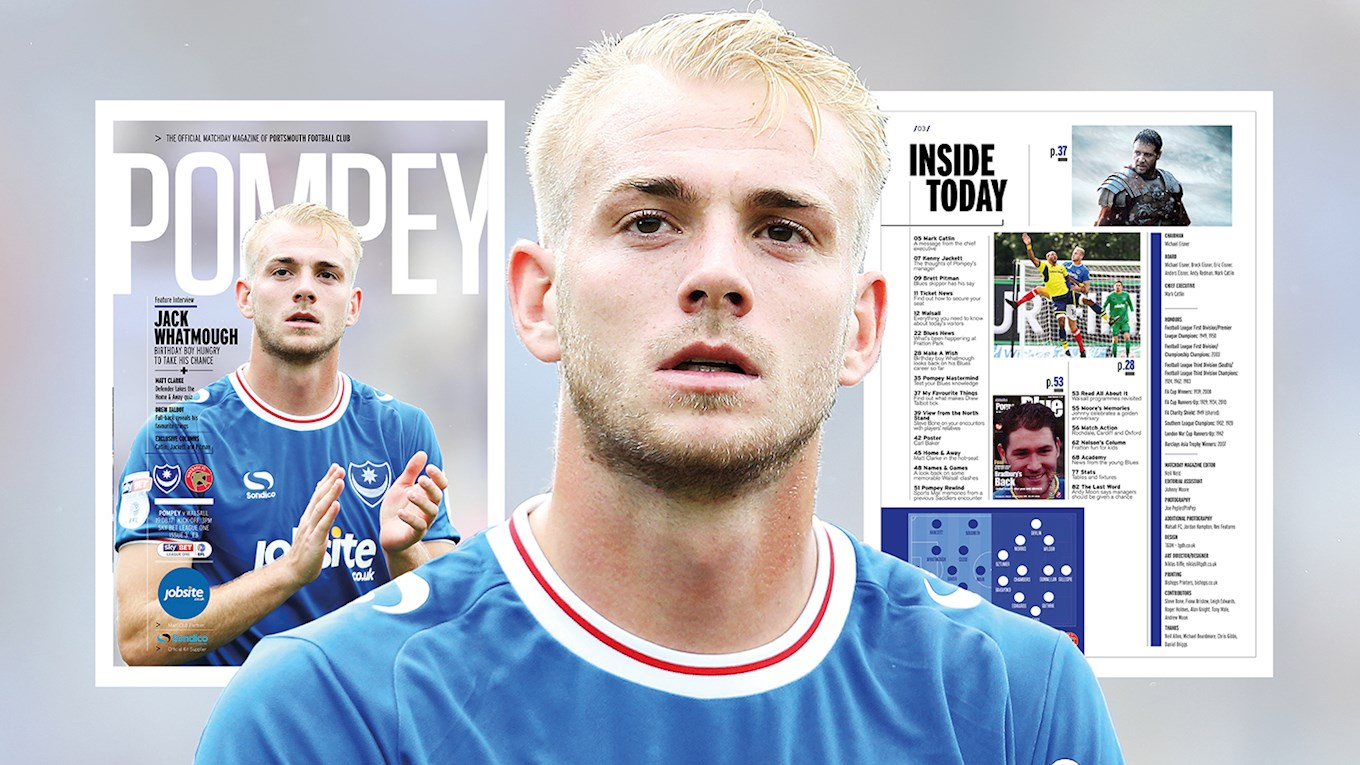 Pompey v Walsall programme