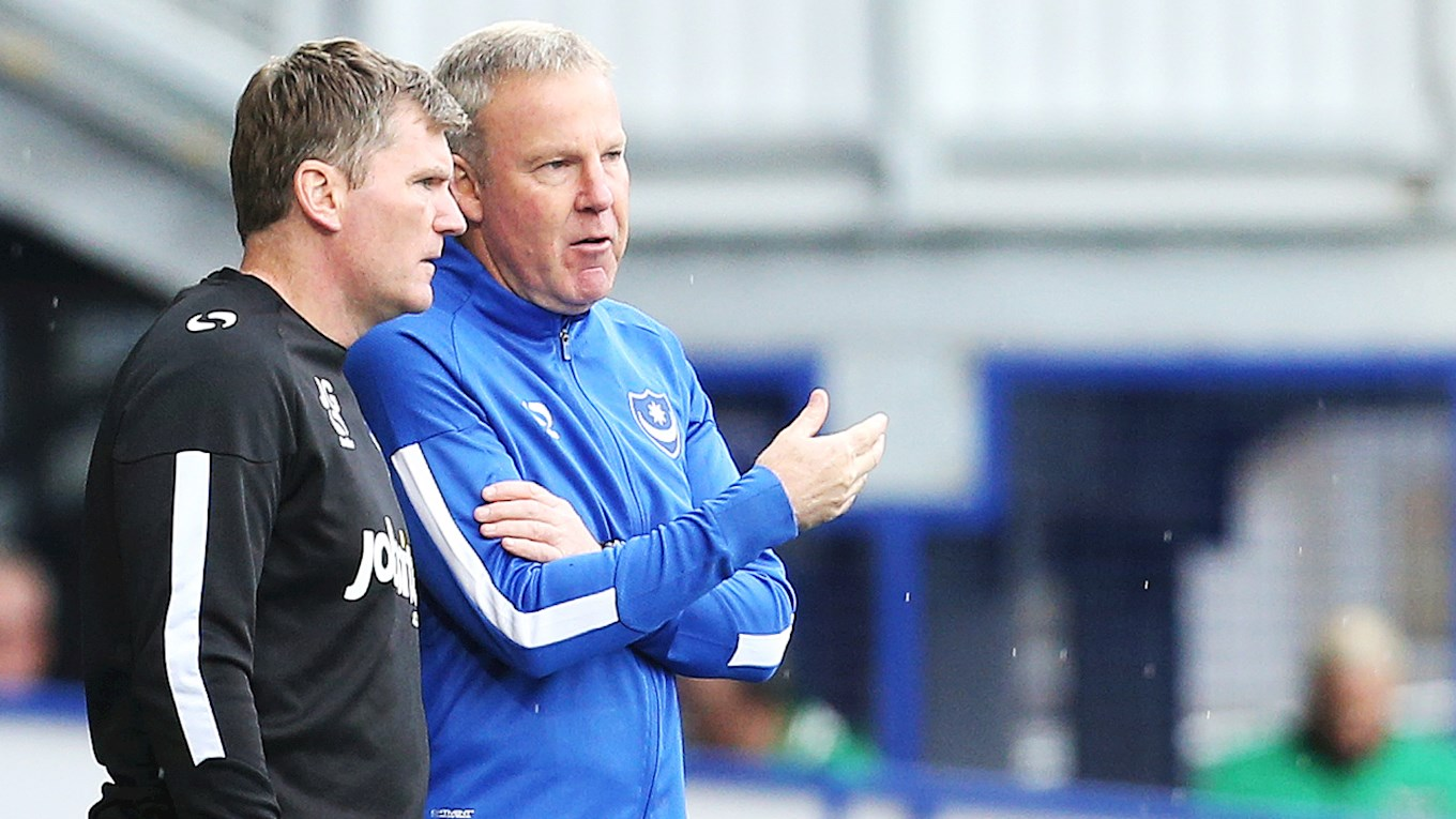 Pompey boss Kenny Jackett speaks to assistant manager Joe Gallen