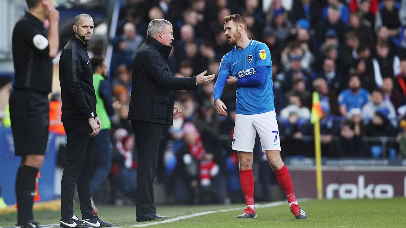 Kenny Jackett speaks to Tom Naylor