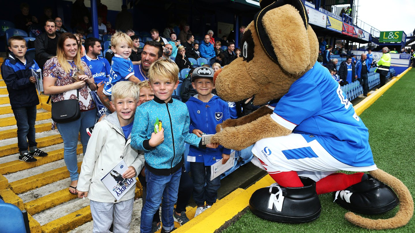 Pompey mascot Nelson meets fans in the Family Zone