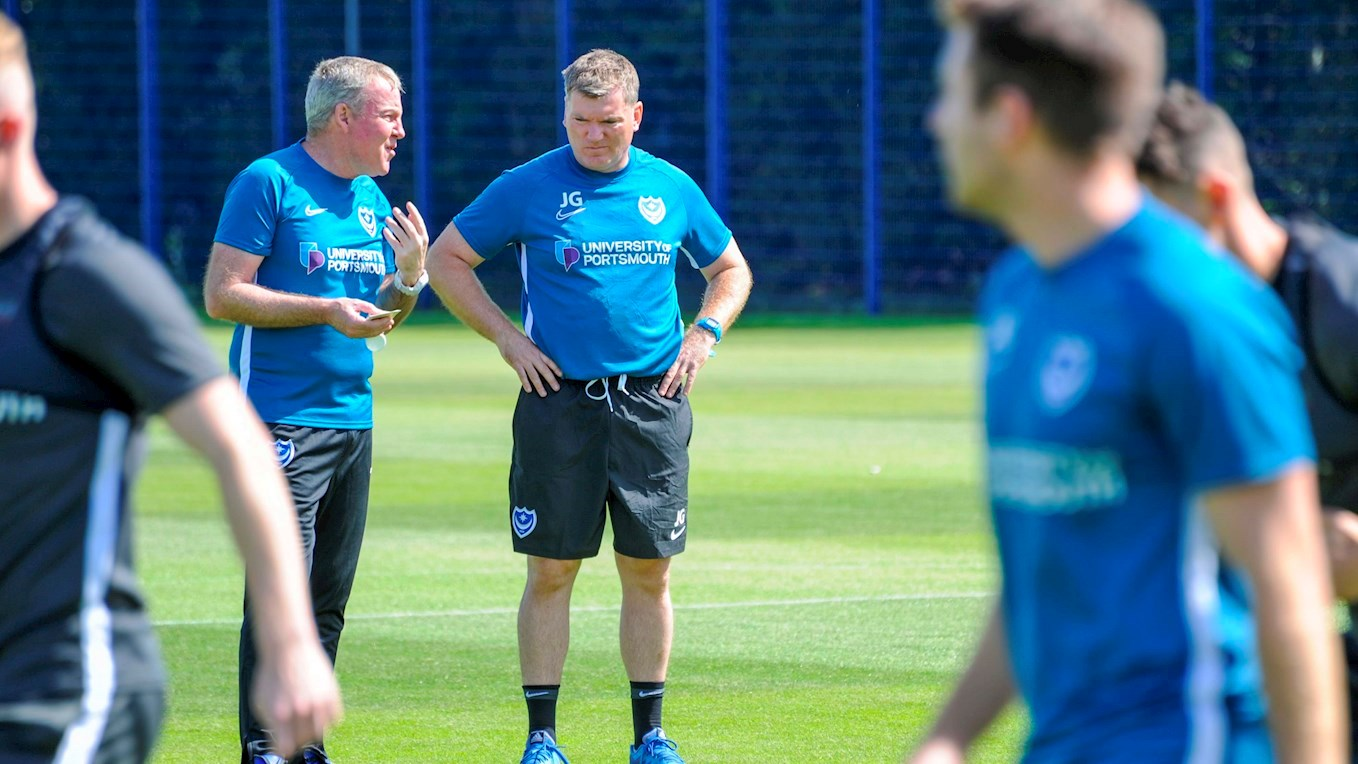 Kenny Jackett chats with Joe Gallen on the first day of pre-season training